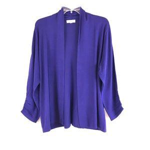 SUSAN GRAVER Purple Open Front Sweater XL